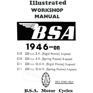 bsa 1946 to 1953 workshop manual  250cc c10 sv & c11 ohv  only (not  suitable for c10lc11gc12)  nerris/1137 | national motorcycle museum