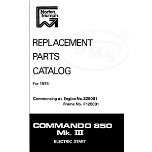 norton 1975 illustrated spares list  commando 850 mark 3 electric start   from engine no 352001 frame no f125001  raymond/1867