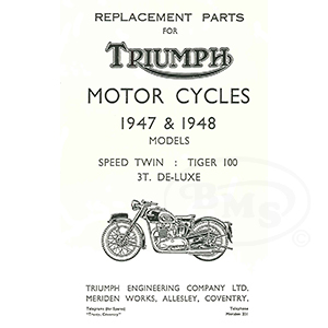 Triumph 1947 To 1948 Illustrated Spare Parts Manual Models 3t 5t