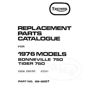 Triumph 1976 Illustrated Spare Parts Manual Bonneville T140v Tiger