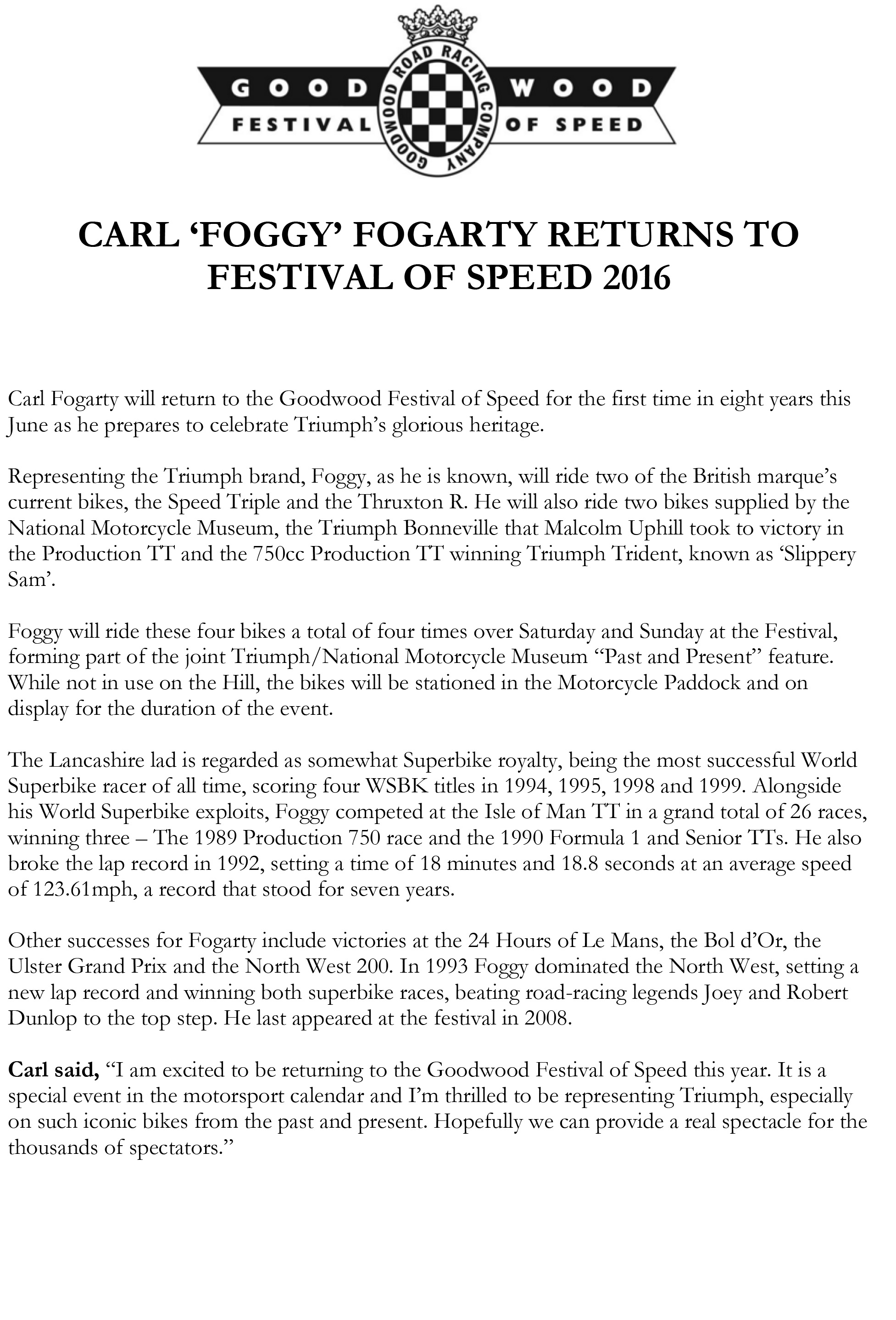 Carl 'Foggy' Fogarty Returns to Festival of Speed 2016_1
