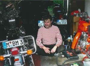 Hans Schifferle pictured with a few of his beloved motorcycles